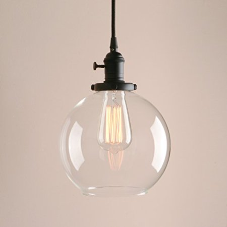 pathson industrial factory globe round glass shade style pendant light dia 7.9