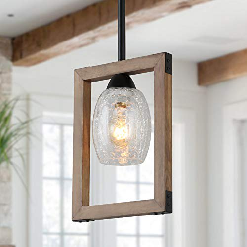 Giluta Square Pendant Light Wood, Square Metal And Wood Chandelier