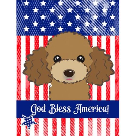 Carolines Treasures BB2186GF God Bless American Flag with Chocolate Brown Poodle Flag Garden - image 1 of 1