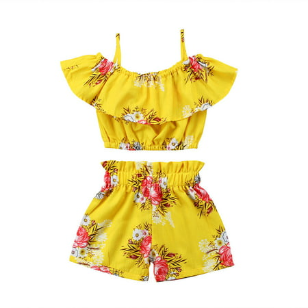 Toddler Kids Baby Girl Floral Halter Ruffled Outfits Clothes Tops+Shorts 2PCS Set (Girls Clothing Online Boutique)