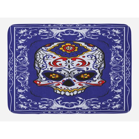 Sugar Skull Bath Mat, Scary Floral Skull with Motifs in Ornate Framework Swirls Gothic Vintage Look, Non-Slip Plush Mat Bathroom Kitchen Laundry Room Decor, 29.5 X 17.5 Inches, Multicolor, Ambesonne (Scary Sugar Skull)