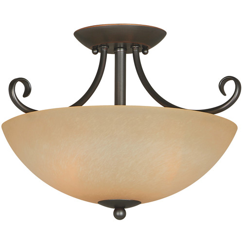 Berkshire 2-Light Semi-Flush Mount Ceiling Fixture, Classic Bronze by Hardware House
