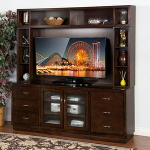 sunny designs espresso 72 in tv console - Glass Entertainment Center