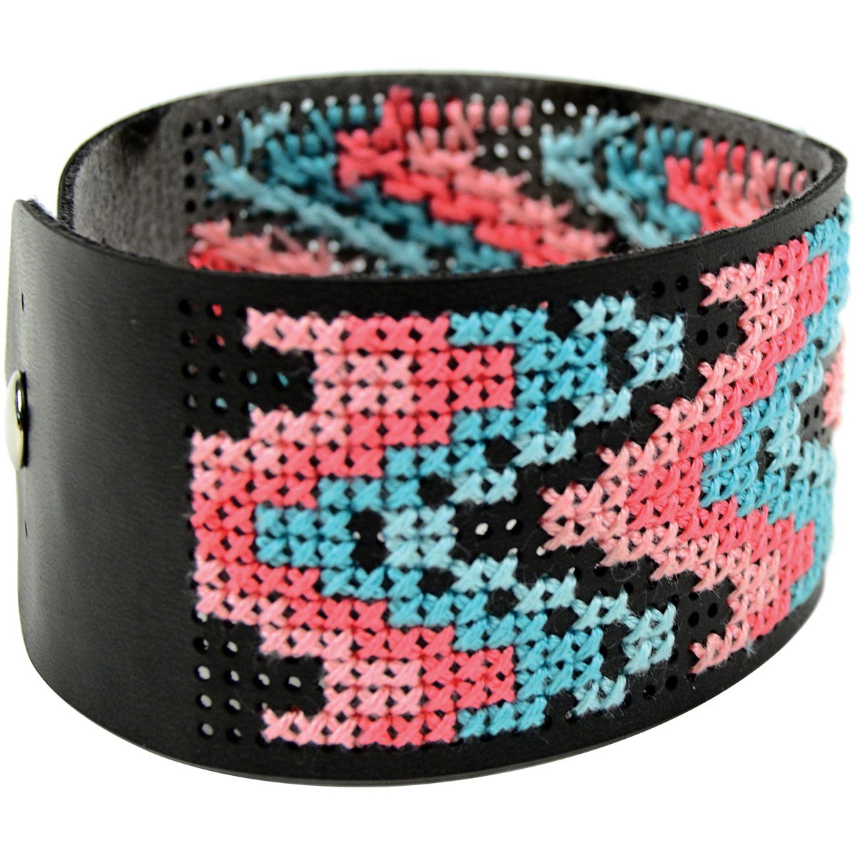 "Cross Stitch Style Faux Leather Bracelet Punched-8""X1.5"" Black"