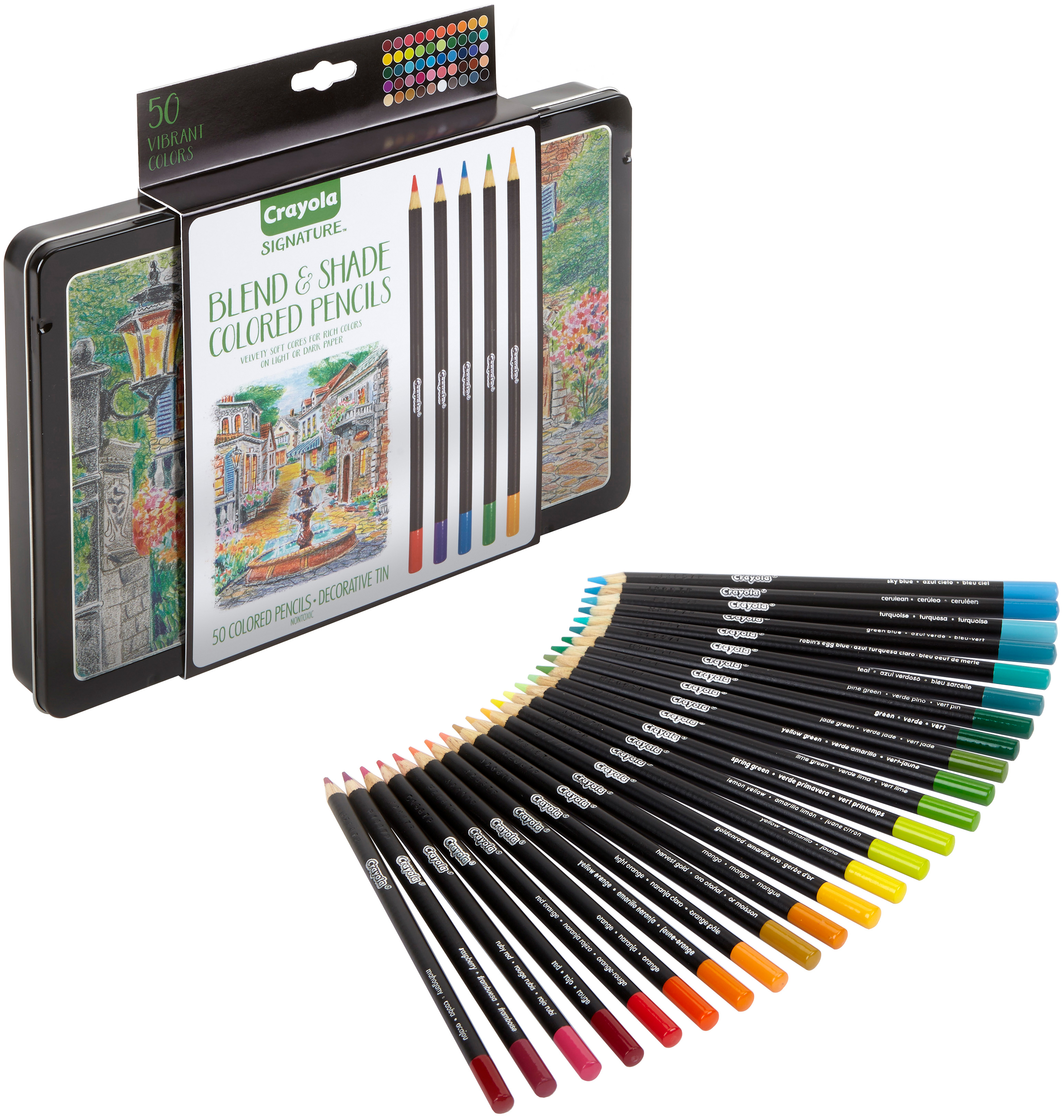 Crayola 50 Piece Signature Blend & Shade Colored Pencils With Tin in Assorted Colors