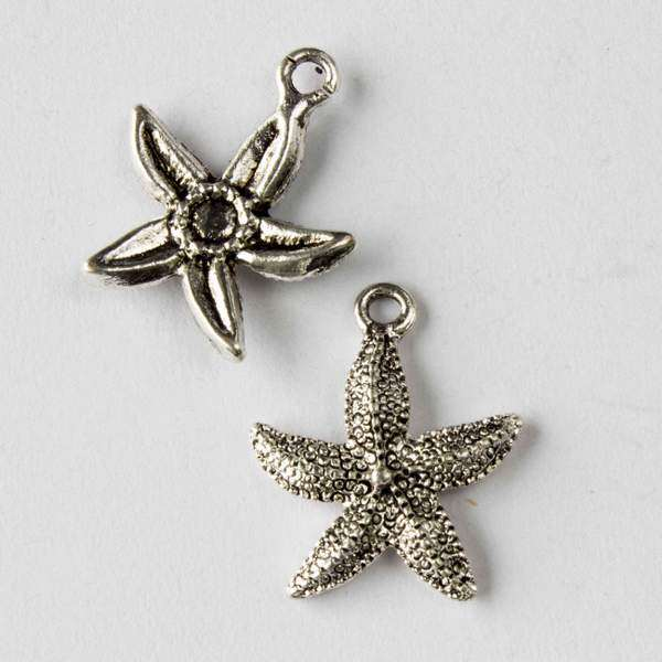 Cherry Blossom Beads 17x21mm Silver Pewter Starfish Charm - 10 per bag