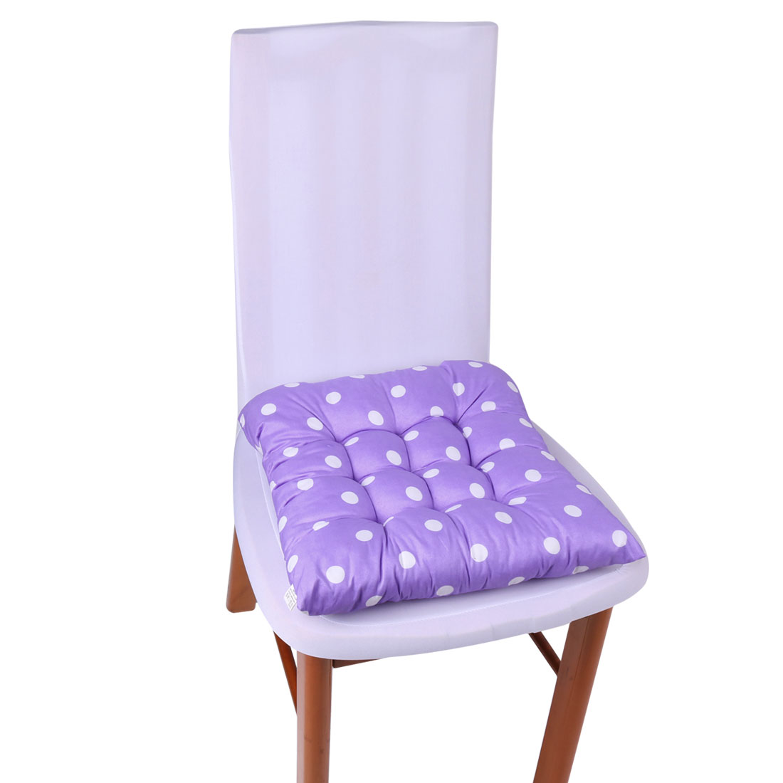 Unique Bargains Home Office Polyester Dot Print Back Support Seat Chair Pad Cushion Light Purple