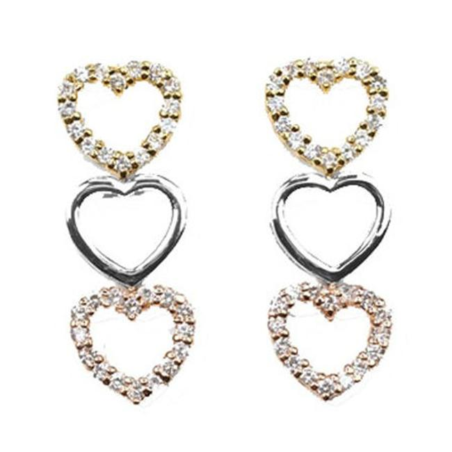 CZ EAR1248-TRI CZ TRIO HEART DROP EARRINGS
