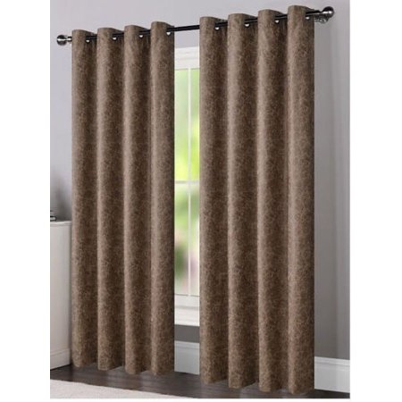 One Dillon Faux Leather Grommet Top Curtain Drapery Panel, 84 inches long, Sand