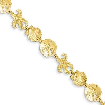 """14K Gold Seashell Fancy Link Bracelet 7.25"""""""