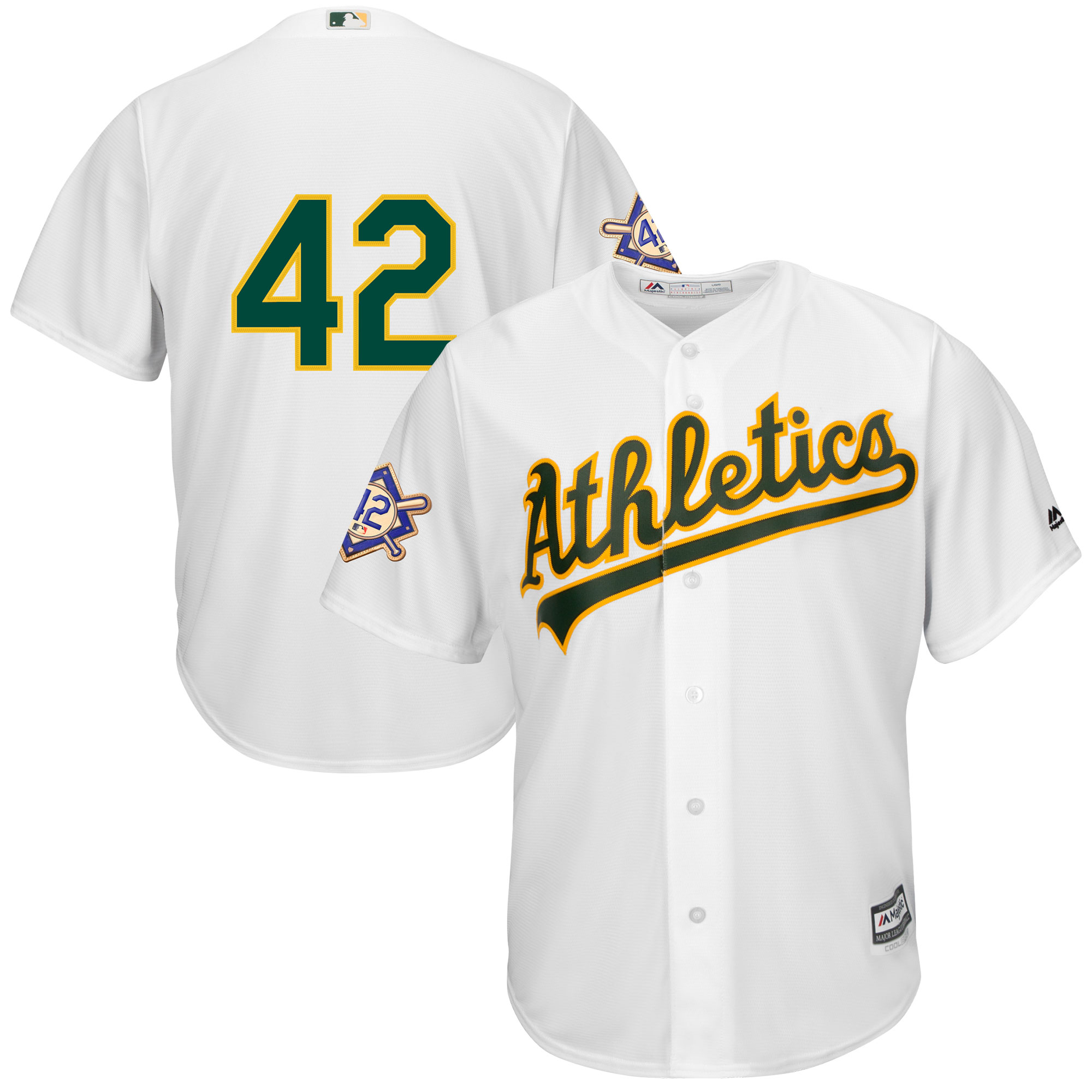 detailed look dee86 65364 Oakland Athletics Majestic 2019 Jackie Robinson Day Official Cool Base  Jersey - White