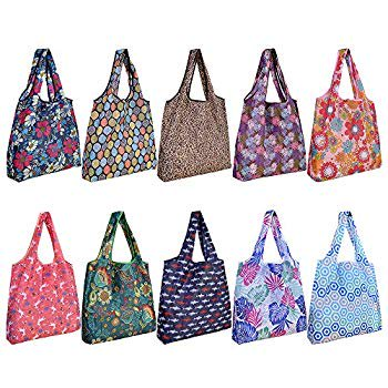 10 Pack Reusable Grocery Shopping Bags, Foldable Shopping Bags Grocery Tote with Attached Pouch,Machine Washable Eco-Friendly. 10 Pack Reusable Grocery Shopping Bags, SZUAH Foldable Shopping Bags Grocery Tote with Attached Pouch,Machine Washable Eco-Friendly.