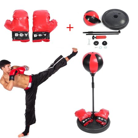 WALFRONT Adjustable Height Kids Punching Ball Bag Speed Boxing Sports Set Fighting Game With Gloves, Punching Ball, Children Boxing (Best Boxing Game On Android)