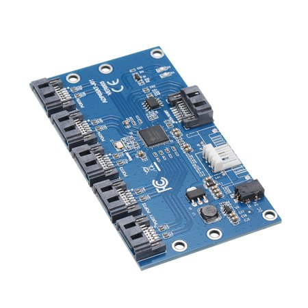 SATA Hard Disk Adapter Card 1 to 5 SATA Multiplier Riser Card Splitter JMB321 Chip - image 5 de 7