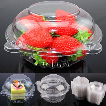 400x Clear Plastic Single Cupcake Cake Case Muffin Dome Holder Box Container - Single Cupcake Boxes