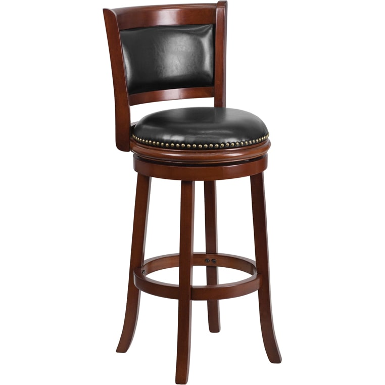 Flash Furniture 29-inch Wood Bar Stool With Leather Swivel