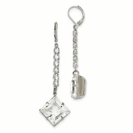 Silver-tone White Swarovski Elements Leverback Dangle Earrings BF2403 - image 1 de 1