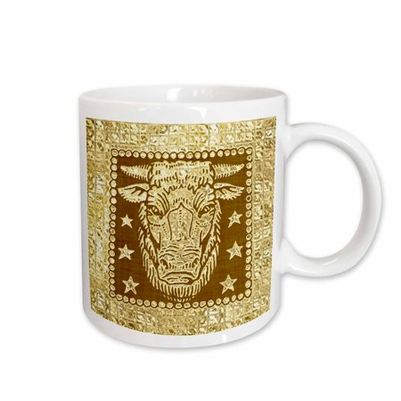 3dRose Zodiacal Constellation Taurus, Gold and Brown Design , Ceramic Mug, 11-ounce