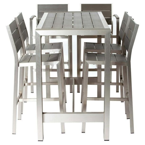 Pangea Outdoor Betty Aluminum 7 Piece, Outdoor Patio Furniture Bar Height Dining Set