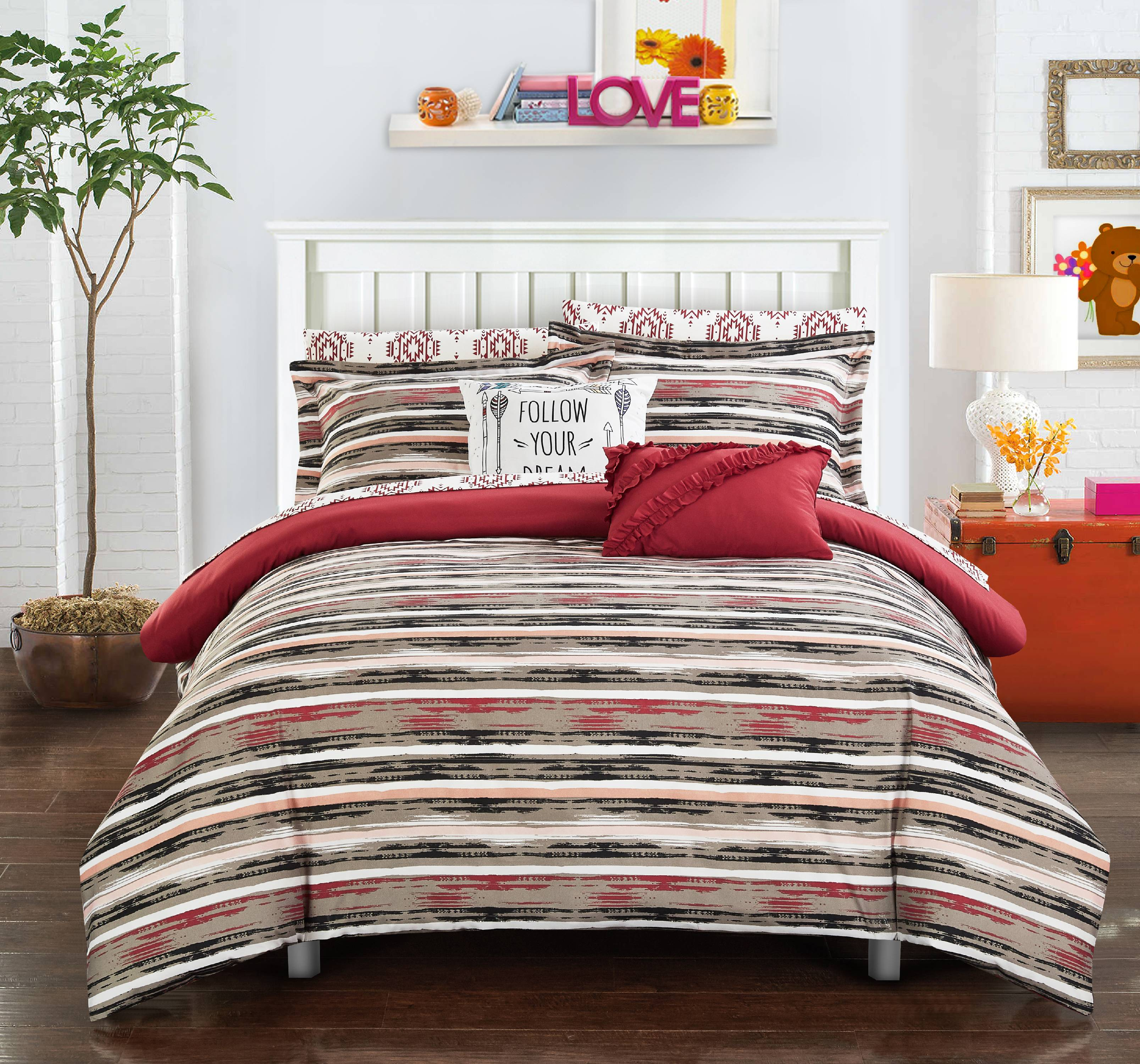 Chic Home Marisol 9 Piece Reversible Comforter Set Bed in a Bag Contemporary Striped Ikat Pattern Print Bedding with Sheet Set Decorative Pillows Shams Included, Full Brick Red