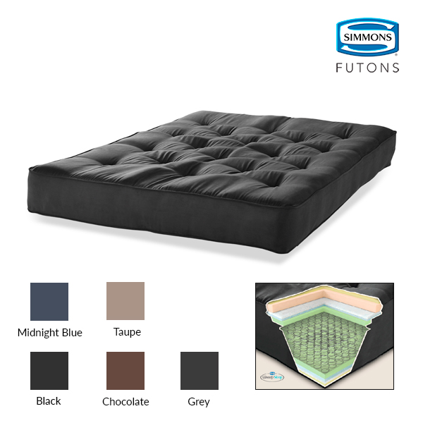"Simmons Beauty Sleep 6"" Innerspring Futon Microfiber Mattress"