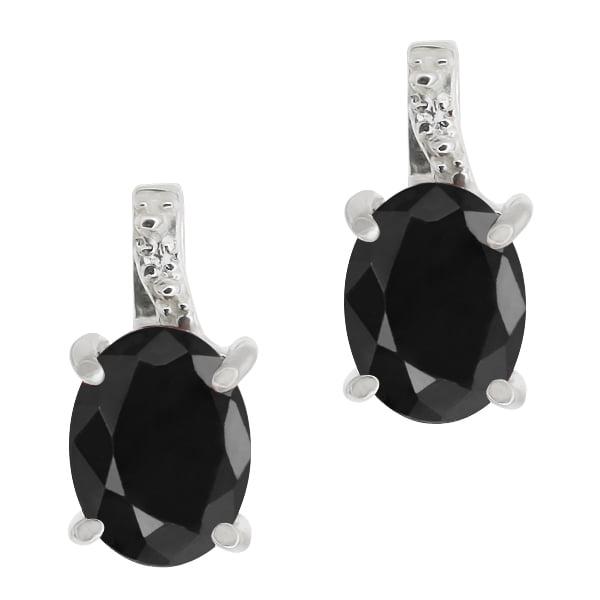 3.33 Ct Oval Black Sapphire White Diamond 14K White Gold Earrings