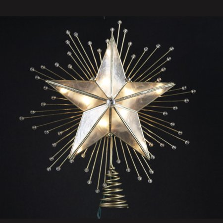 "10"" Lighted Capiz Star with Beaded Sunbursts Christmas ..."