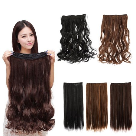 Fashion 3/4 Full head Clip In Hair Extensions Straight Curly With 5 Clips Long - image 1 de 6