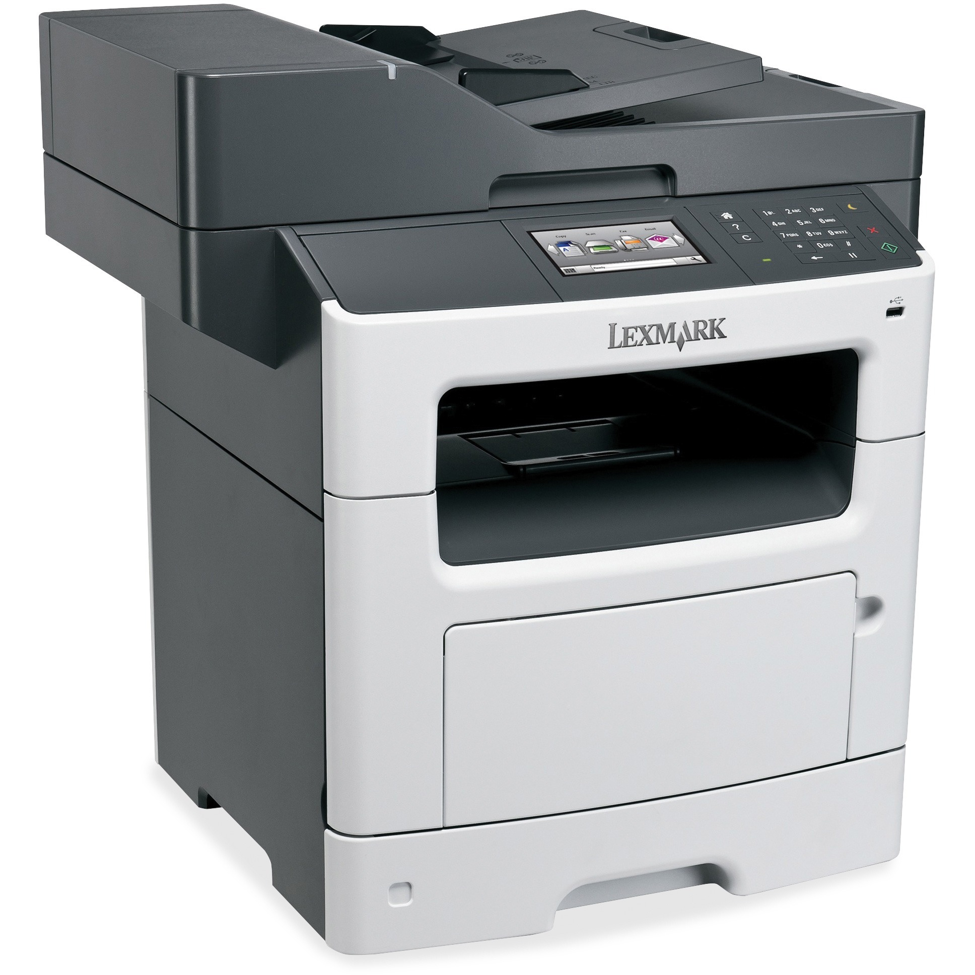 Lexmark MX510DE Laser Multifunction Printer - Monochrome - Plain Paper Print - Desktop, Gray, White