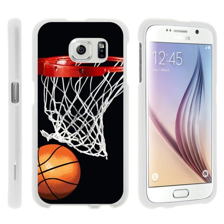 Samsung Galaxy S6 G920, [SNAP SHELL][White] 2 Piece Snap On Rubberized Hard White Plastic Cell Phone Case with Exclusive Art - Basketball Swish