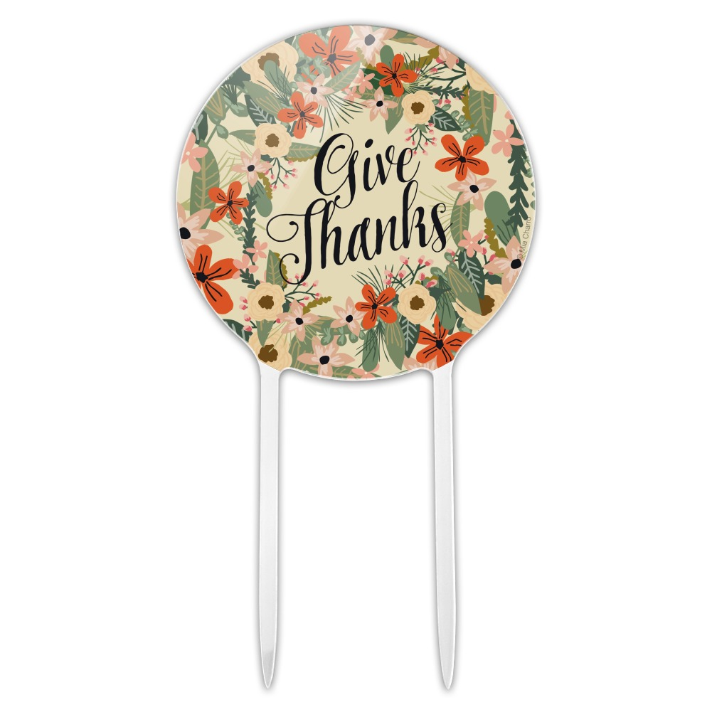 Acrylic Give Thanks Thankfulness Thank You Cake Topper ...