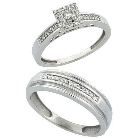 10k White Gold 2-Piece Diamond Ring Set ( Engagement Ring & Man's Wedding Band ), w/ 0.25 Carat Brilliant Cut Diamonds, ( 2. 5mm; 6mm )