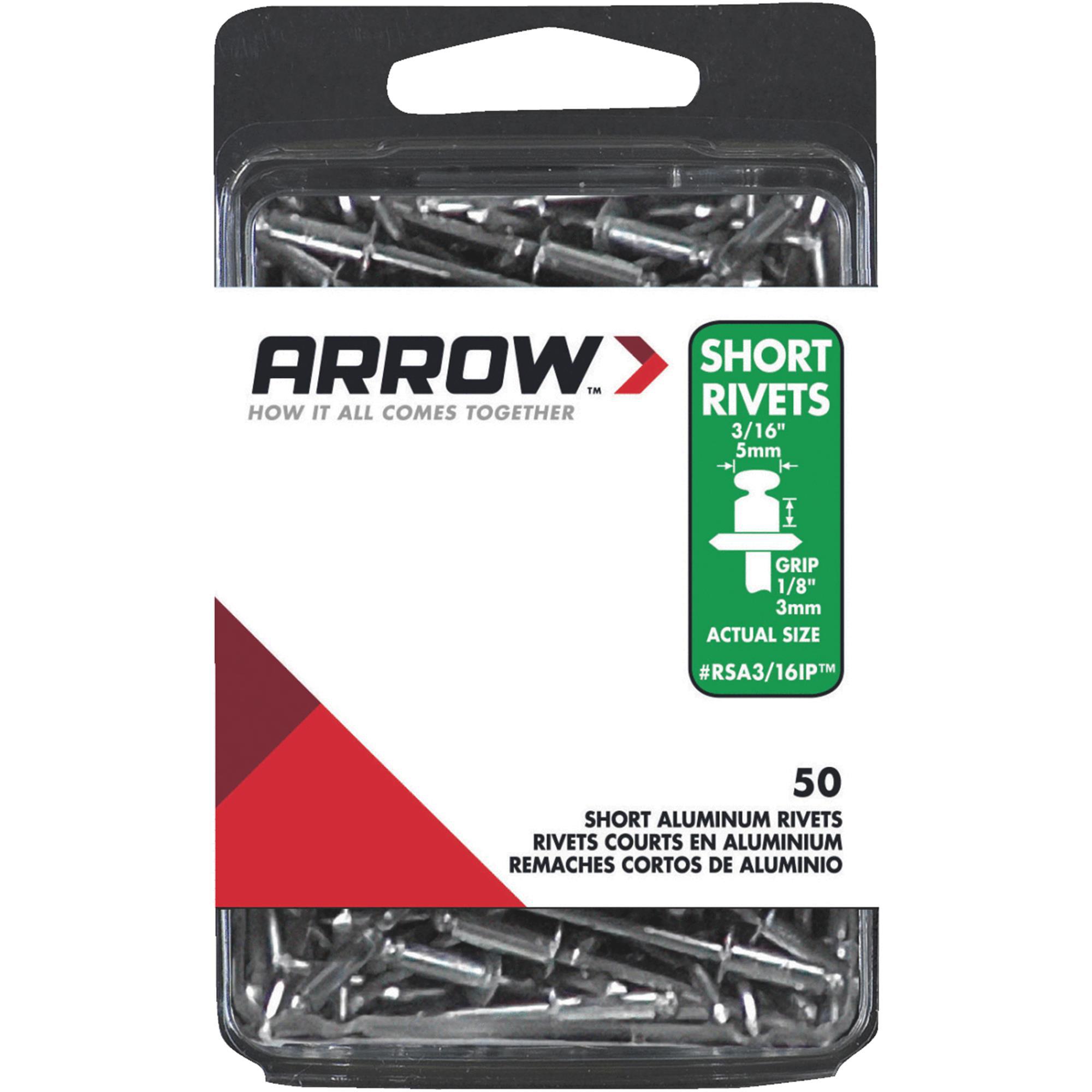 """Arrow Fastener Co. 3/16"""" Short Aluminum Rivets 50 Count"""