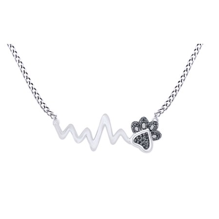 Black Natural Diamond Paw Print Heartbeat Pendant Necklace In 14k White Gold Over Sterling Silver (0.05
