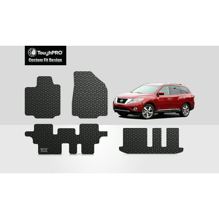 ToughPRO - NISSAN Pathfinder Front, 2nd & 3rd Row Mats - All Weather - Heavy Duty - Black Rubber - 2018