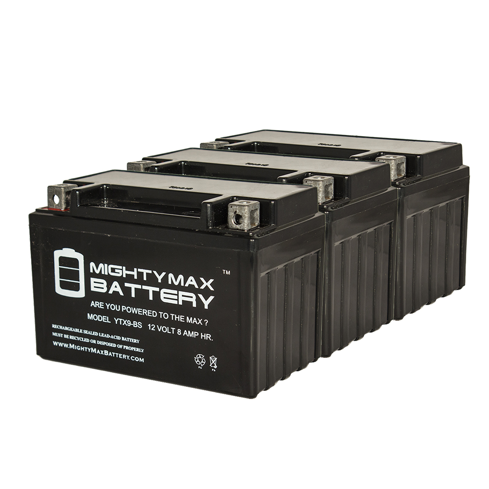 YTX9-BS SLA Battery Replaces Piaggio Vespa 180 ET4 1998-2004 - 3 Pack