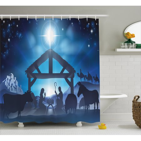 Blue Shower Curtain, Traditional Scene of Nativity Bethlehem with Christmas Star Joseph Mary, Fabric Bathroom Set with Hooks, 69W X 75L Inches Long, Grey Dark Blue Sky Blue, by Ambesonne