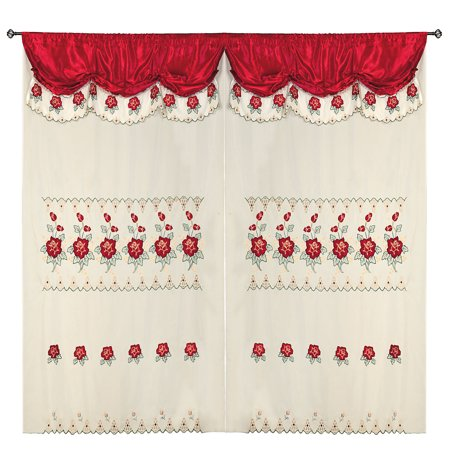 Burgundy Room Decor Embroidery Sheer Panel Window Curtain Drapes 60x90+18