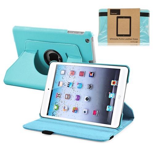 INSTEN Light Blue Swivel Leather Case Cover Stand For Apple iPad Mini 3 / 1 / 2 Retina (Supports Auto Sleep/Wake)