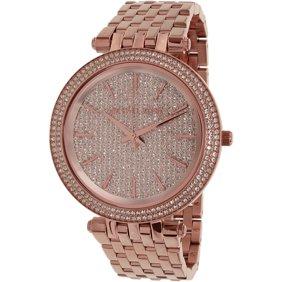 Michael Kors Women's MK3378 Darci Crystal Bezel Dark Red Dial Rose Gold Steel Bracelet Watch