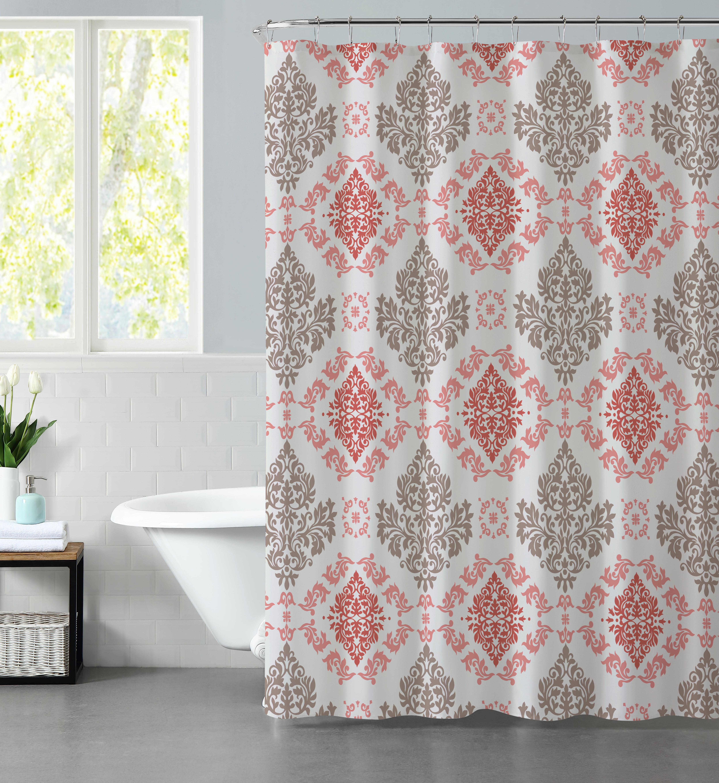 Mainstays Coral Damask Fabric Shower Curtain Walmart Com Walmart Com