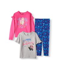 Jojo Siwa Long and Short Sleeve Ruffle Detail Graphic Tees and Printed Legging, 3-Piece Outfit Set (Little Girls & Big Girls)