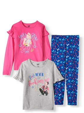 JoJo Siwa Long and Short Sleeve Ruffle Detail Tops and Printed Legging, 3-Piece Outfit Set (Little Girls & Big Girls)