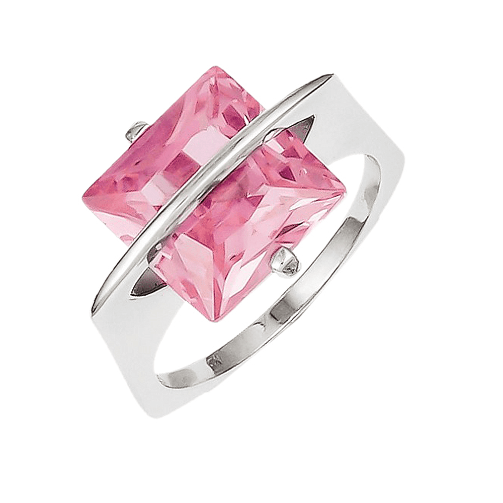 925 Sterling Silver Pink Synthetic Cubic Zirconia 2-Prong Square ...