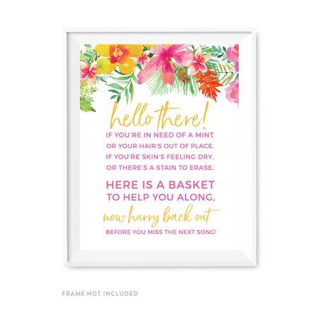Bathroom Basket Sign (Tropical Floral Garden Party Wedding Party Signs, Bathroom Basket Sign,)