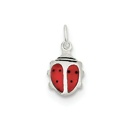 Enameled Ladybug (Sterling Silver Enameled Lady Bug Charm)