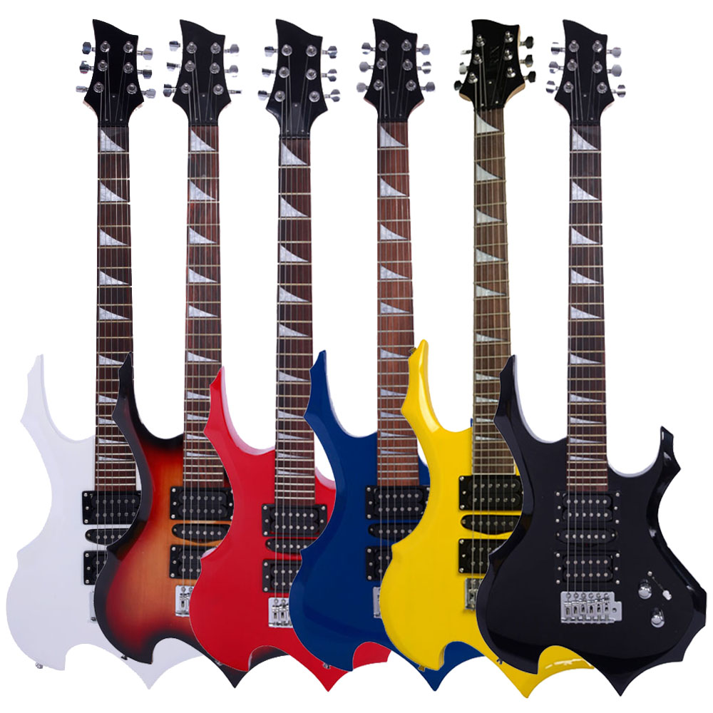 """Zimtown 38"""" Personalise Flame Type Beginner Electric Guitar With Accessories White/Black/Red/Yellow/Sunset Color/Blue"""
