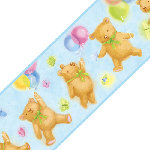 Blue Teddy Bears Balloons Prepasted Wall Border Roll