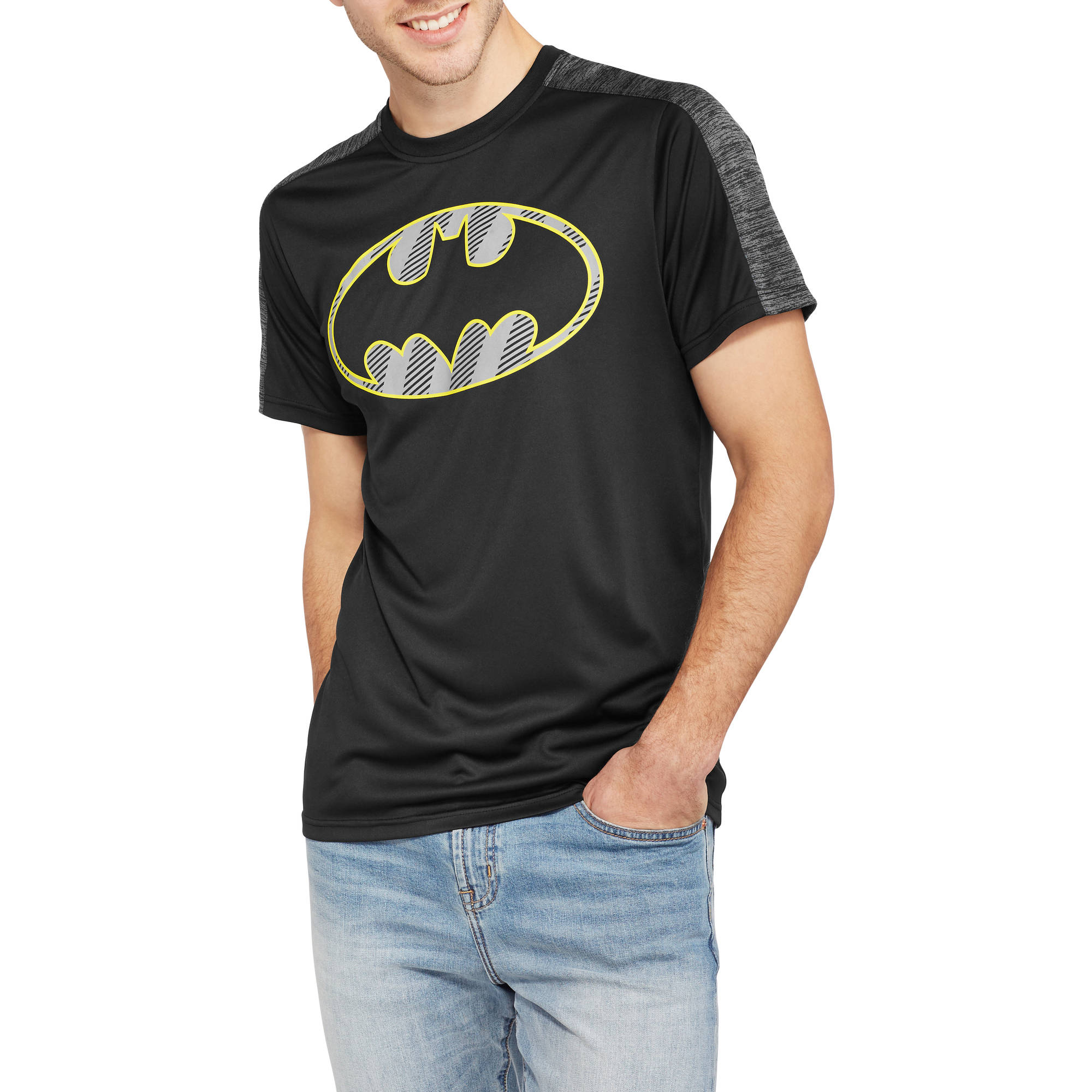 DC Comics Men's Batman Reflective Logo Poly Mesh Tee by