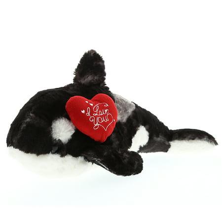 Super Soft Plush Dollibu Large Wild Killer Whale I Love You Valentines Plush (I Whaley Love You)